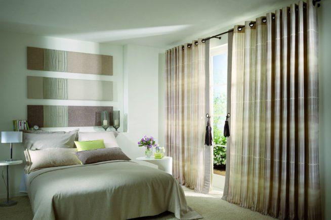 Шторы и спальня в оливковых тонах