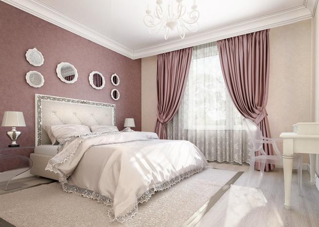 Спальня и шторы классического дизайна