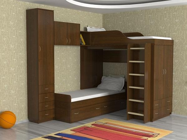 Угловая двухъярусная кровать с комодом и шкафом