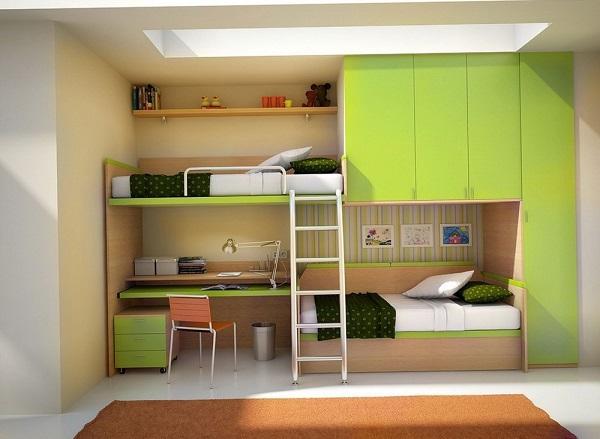 Двухъярусная кровать с рабочим местом и шкафом