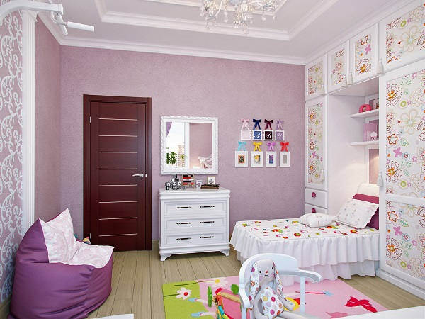 Цветочные мотивы в оформлении комнаты девочки