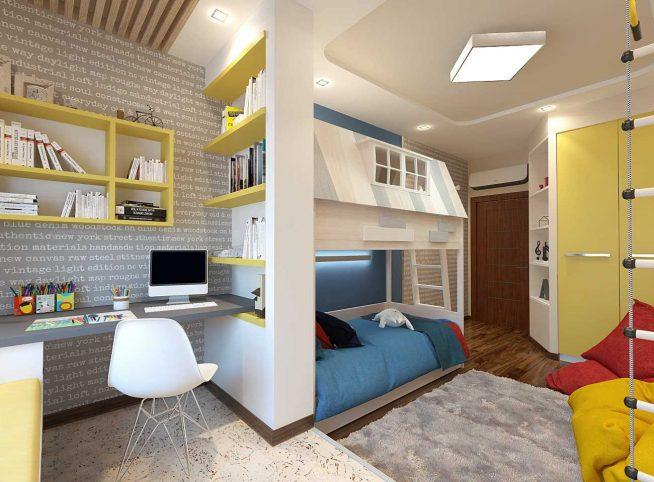 Просторная детская комната современного дизайна