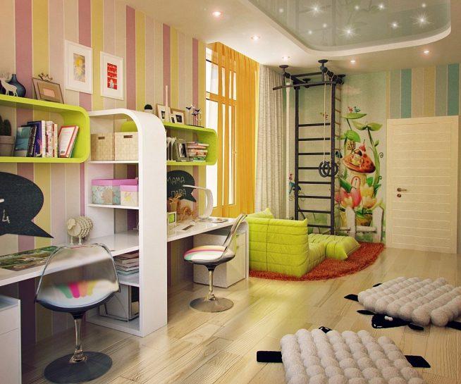 Вариант дизайна большой детской комнаты