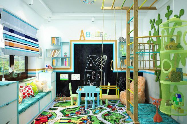 Игровая зона в большой детской комнате