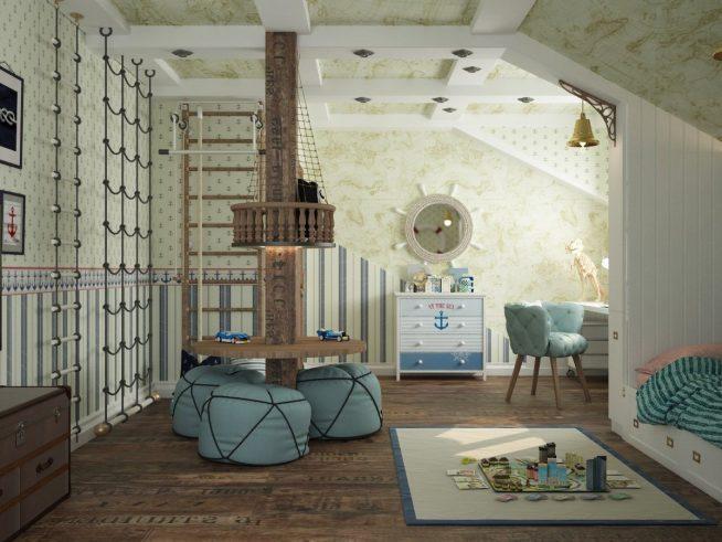 Просторная детская комната для мальчика