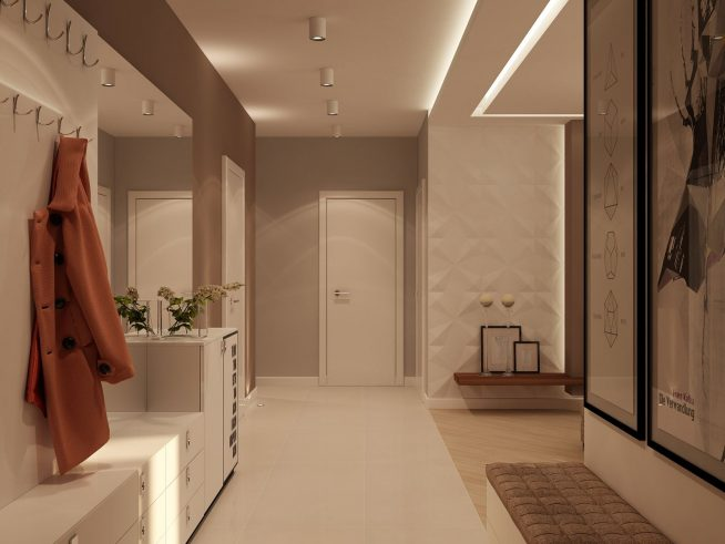 Подсвеченный потолок в прихожей