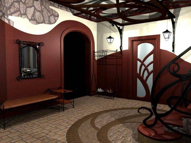 Входная дверь в прихожую в форме арки
