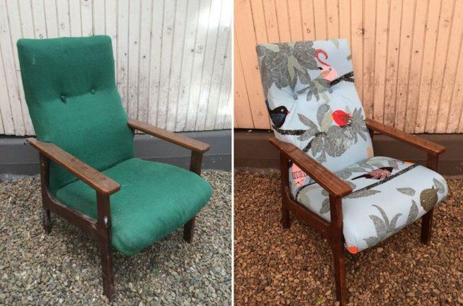 Перетяжка обивки старого кресла