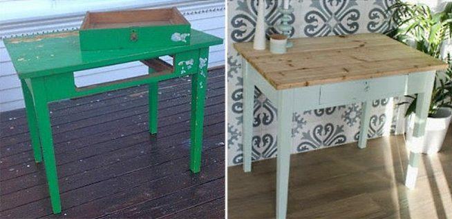 Стол до и после ремонта