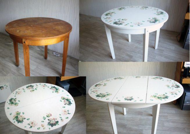Преобразование старого стола методами покраски и декупажа