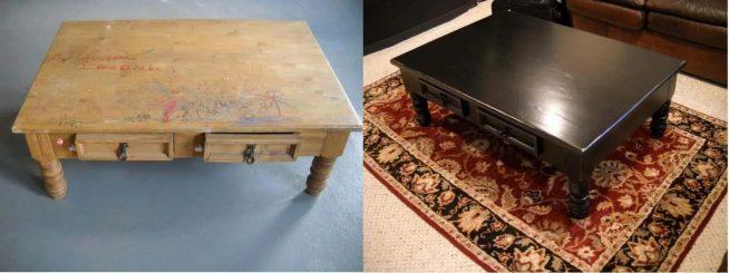 Стол до и после оклеивания плёнкой