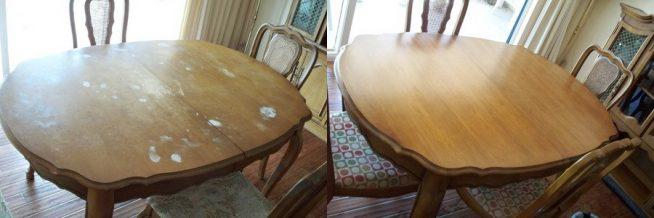 Стол до и после покрытия новым лаком