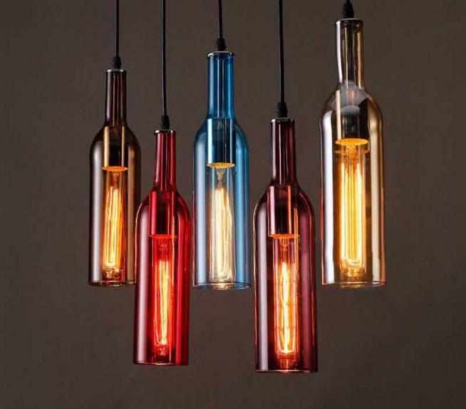 Светильники из разноцветных бутылок
