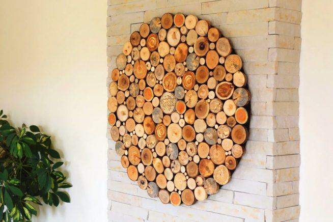 Панно из спилов дерева