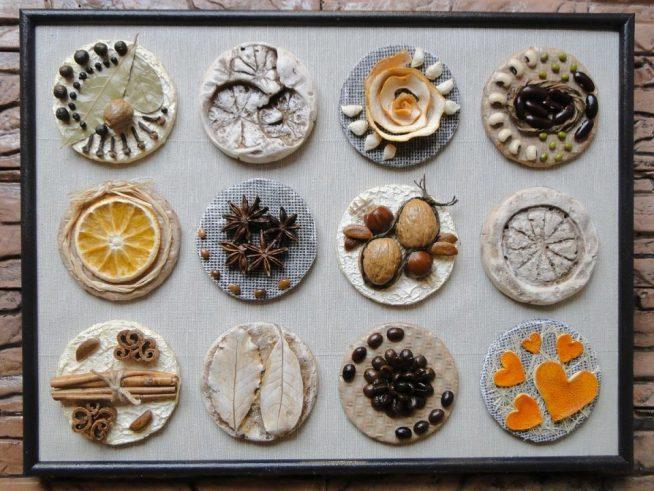 Панно из пряностей, соленого теста и апельсиновых корок