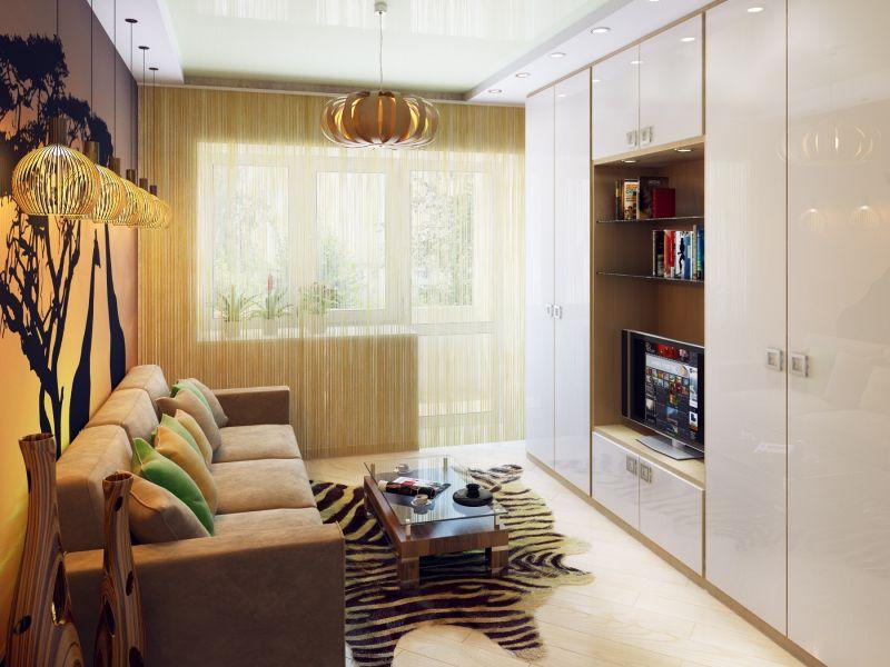 Расстановка мебели в узкой гостиной: фото удачных вариантов