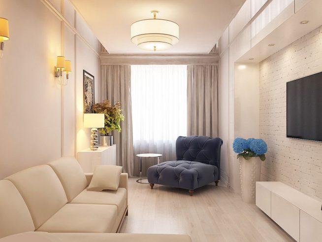 как расставить мебель в узкой гостиной