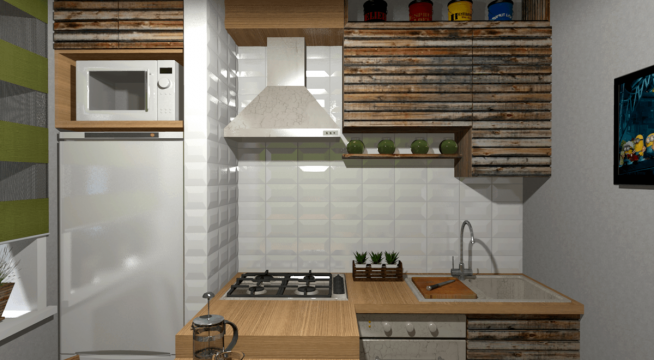 Перегородка между холодильником и плитой