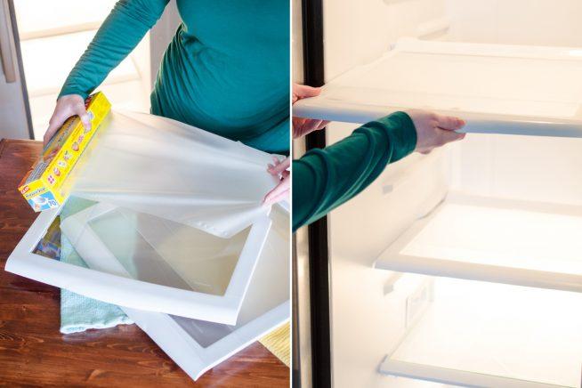 Полки из холодильника упаковывают в специальную бумагу