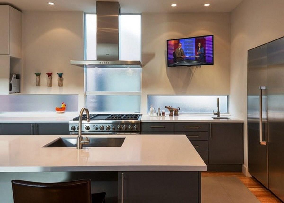 Кухонный гарнитур с телевизором картинки