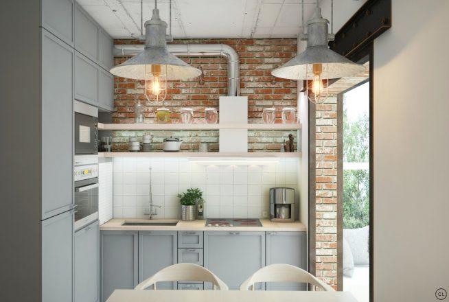 Интерьер маленькой кухни в стиле лофт