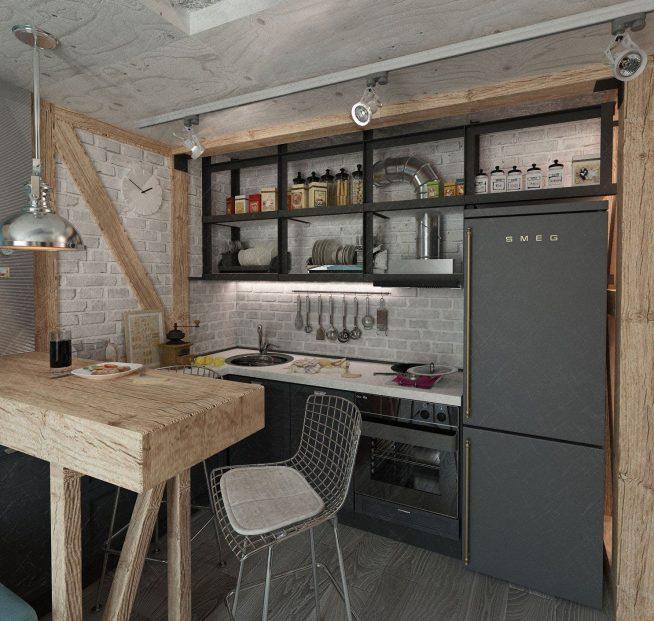 Дизайн маленькой кухни в стиле лофт