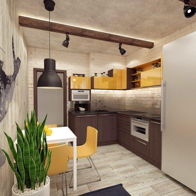 Дизайн-проект маленькой кухни в стиле лофт