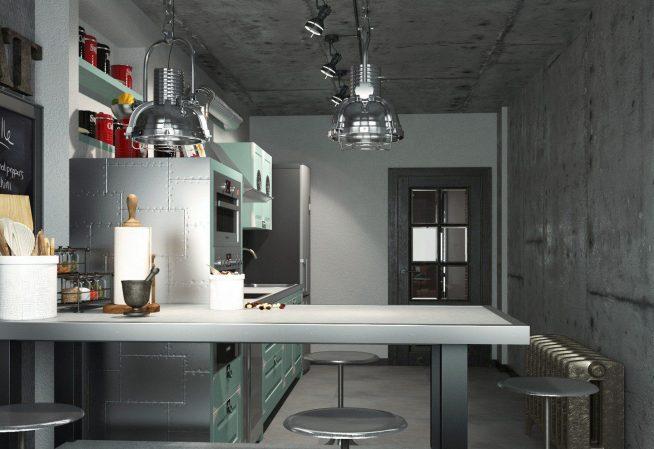 Идея дизайна кухни в стиле лофт