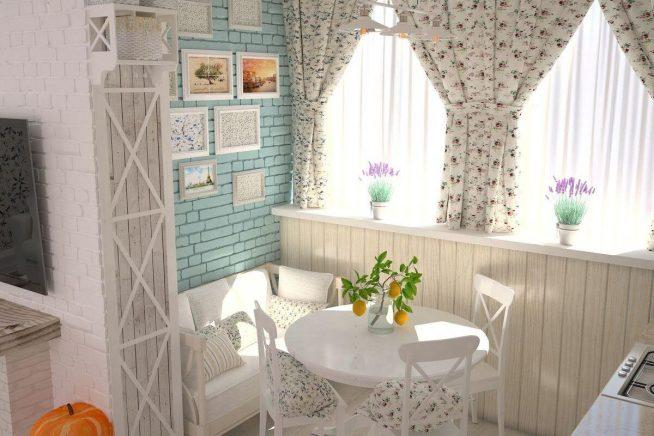 Небольшая кухня в стиле прованс с окном