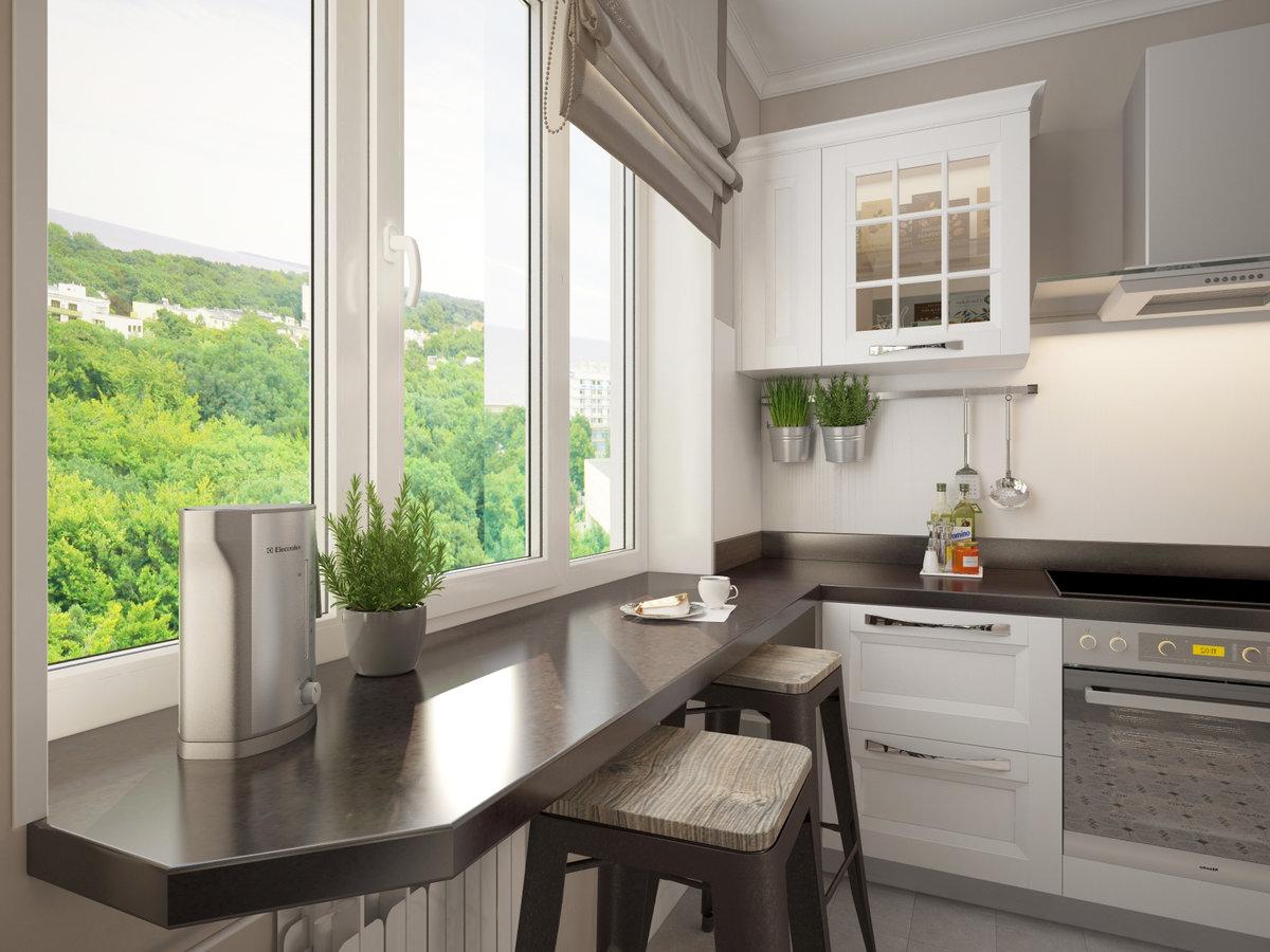 кухонный гарнитур у окна фото являются