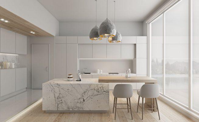 Белая кухня с панорамными окнами