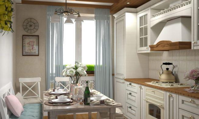 Небольшая светлая кухня в стиле прованс