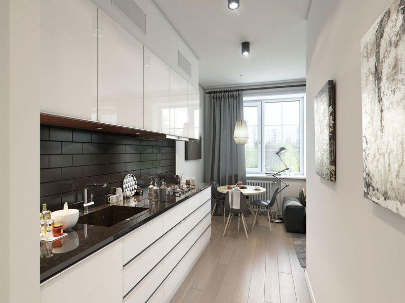 Как обустроить узкую кухню: 20 примеров с фото