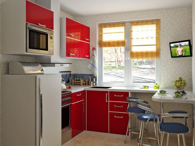 Обои с цветочным рисунком для небольшой кухни