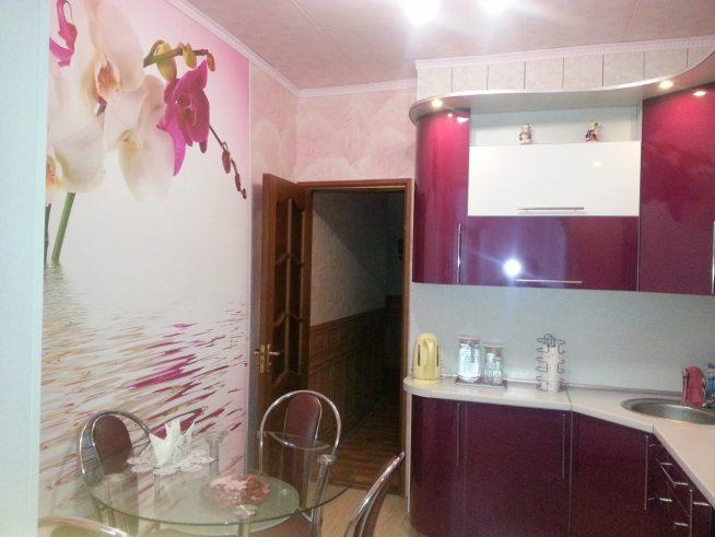 Дизайн маленькой кухни с фотообоями