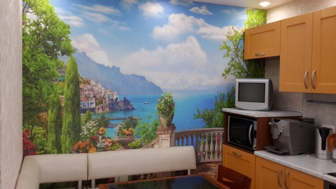 Маленькая кухня с фотообоями