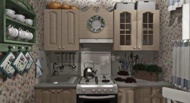 Обои для маленькой кухни с цветочным рисунком